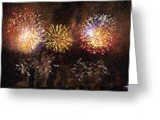 Fire Works Show Stippled Paint 3 France Greeting Card by Dawn Hay