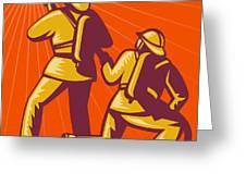 Firemen Aiming A Fire Hose Greeting Card by Aloysius Patrimonio