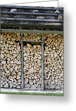 Firewood Stack Greeting Card by Frank Tschakert