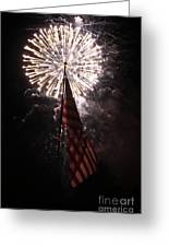 Fireworks Behind American Flag Greeting Card by Alan Look