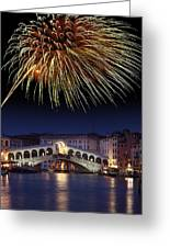 Fireworks Display, Venice Greeting Card by Tony Craddock