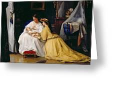 First Born Greeting Card by Gustave Leonard de Jonghe