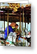 First Carousel Ride Greeting Card by Susan Savad