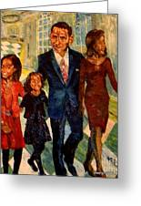 First Family Obama's Greeting Card by Keith OBrien Simms