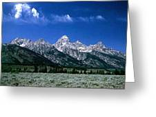 First View Of Tetons Greeting Card by Kathy McClure