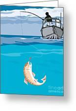 Fisherman Fishing Trout Fish Retro Greeting Card by Aloysius Patrimonio