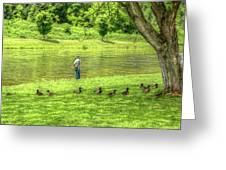 Fisherman Lazy Day At The Lake Greeting Card by Randy Steele
