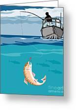 Fisherman On Boat Trout  Greeting Card by Aloysius Patrimonio