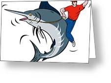 Fisherman Riding Marlin Greeting Card by Aloysius Patrimonio
