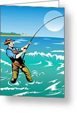 Fisherman Surf Casting Greeting Card by Aloysius Patrimonio