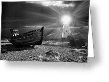 fishing boat graveyard 7 Greeting Card by Meirion Matthias