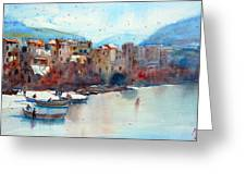 Fishing Boats On The Beach Of Cefalu Greeting Card by Andre MEHU