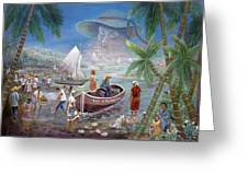 Fishing Village Greeting Card by Emmanuel Dostaly