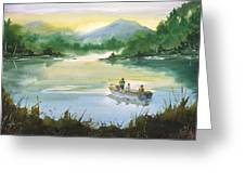 Fishing With Grandpa Greeting Card by Sean Seal