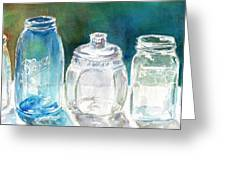 Five Jars In Window Greeting Card by Sukey Jacobsen