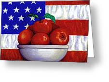 Flag And Apples Greeting Card by Linda Mears