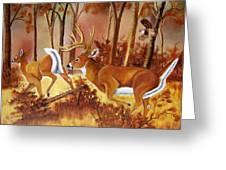 Flagging Deer Greeting Card by Debbie LaFrance