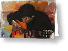 Flamenco Guitar Player Greeting Card by Harvie Brown