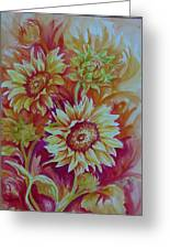 Flaming Sunflowers Greeting Card by Summer Celeste