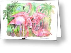 Flamingo Five Greeting Card by Arline Wagner