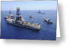 Flaring Operations Conducted Greeting Card by Stocktrek Images