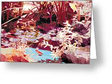 Floating Lilies Pads Above The Koi. Greeting Card by Judy Loper