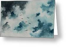 Flock Of Birds Against A Dark Sky  Greeting Card by Michael Vigliotti