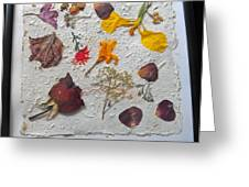 Floral Collage On Mullberry Handmade Paper Greeting Card by Mircea Veleanu