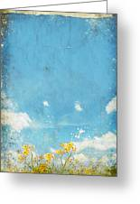 Floral In Blue Sky And Cloud Greeting Card by Setsiri Silapasuwanchai