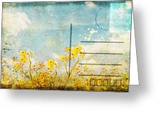 floral in blue sky postcard Greeting Card by Setsiri Silapasuwanchai