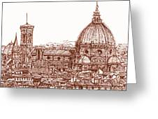 Florence Duomo in red Greeting Card by Lee-Ann Adendorff