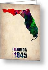 Florida Watercolor Map Greeting Card by Naxart Studio