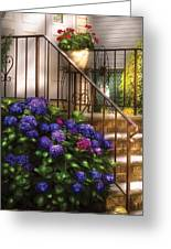 Flower - Hydrangea - Hydrangea And Geraniums  Greeting Card by Mike Savad