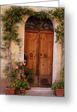 Flowered Tuscan Door Greeting Card by Donna Corless