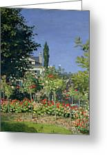 Flowering Garden At Sainte-adresse Greeting Card by Claude Monet