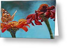 Flowers And Butterfly Greeting Card by Janice Wright