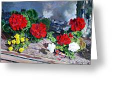 Flowers At Church Greeting Card by Scott Robertson