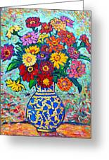 Flowers - Colorful Zinnias Bouquet Greeting Card by Ana Maria Edulescu