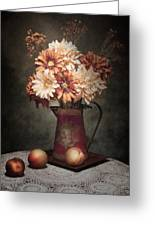 Flowers With Peaches Still Life Greeting Card by Tom Mc Nemar