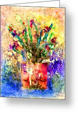 Flowery Illusion Greeting Card by Arline Wagner