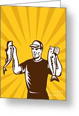 Fly Fisherman Holding Bass Fish Catch Greeting Card by Aloysius Patrimonio