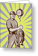 Fly Fisherman Weighing In Fish Catch  Greeting Card by Aloysius Patrimonio