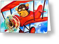 Flying Bear Greeting Card by Scott Nelson