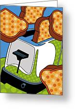 Flying Toast Greeting Card by Ron Magnes