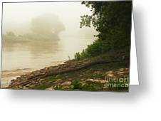 Fog Along The Red Greeting Card by Steve Augustin