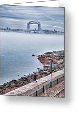 Foggy Lake Superior Afternoon Greeting Card by Shutter Happens Photography