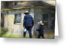 Follows In His Footsteps Greeting Card by Bob Salo
