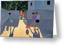 Footballers Greeting Card by Andrew Macara
