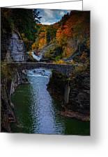 Footbridge At Lower Falls Greeting Card by Rick Berk