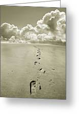 Footprints In Sand Greeting Card by Mal Bray